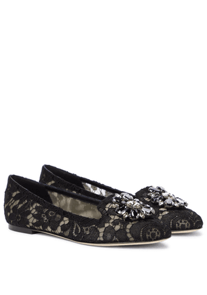 Vally embellished lace ballet flats