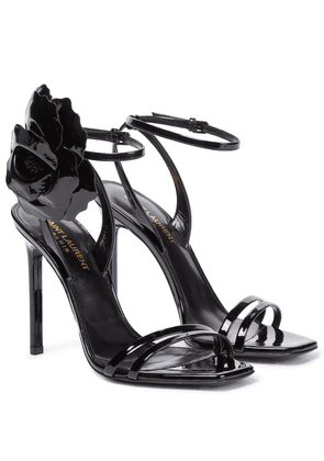 Amber Flower patent leather sandals