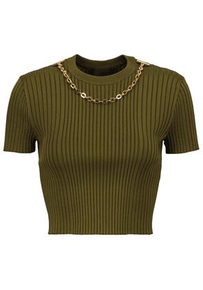 Chain-trimmed ribbed-knit sweater