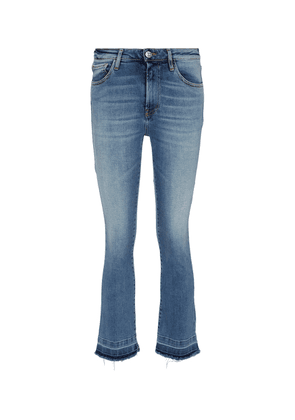 Mid-rise cropped boot-leg jeans