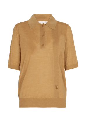 Wool, silk and cashmere polo top