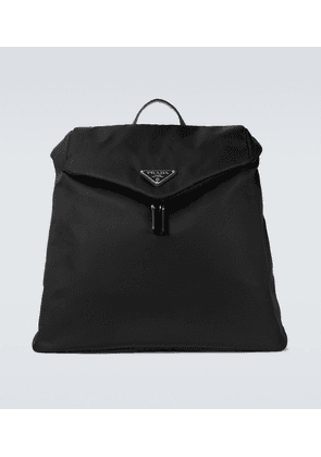Re-Nylon and leather-trimmed backpack
