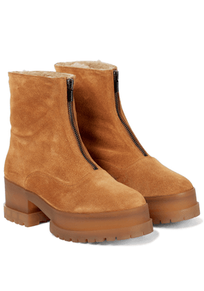 Wyllo shearling-trimmed suede ankle boots