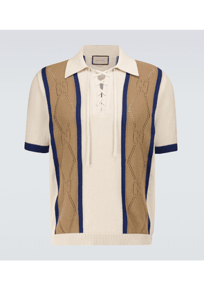 GG perforated cotton polo shirt