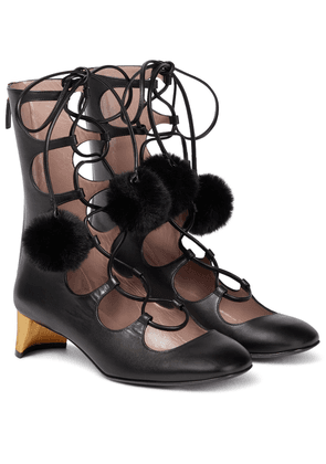 Lace-up leather ankle boots