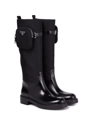 Leather, nylon and rubber boots