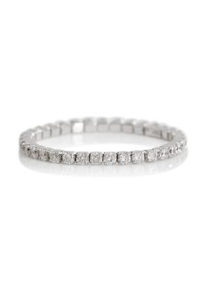 Single Thread 18kt white gold ring with diamonds