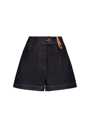 High-rise leather-trimmed denim shorts