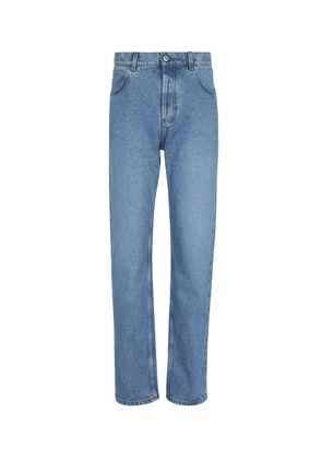 Anagram leather-trimmed tapered jeans