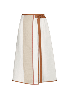 Leather-trimmed linen and cotton skirt