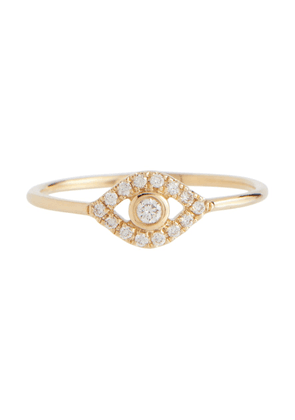 Evil Eye 14kt gold ring with diamonds