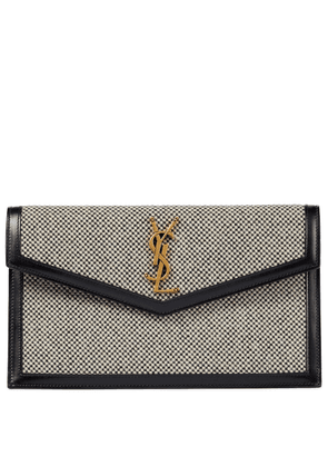 Uptown Small leather-trimmed clutch