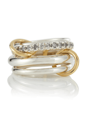 Janssen SG Gris sterling silver ring with diamonds and yellow and rose gold connectors