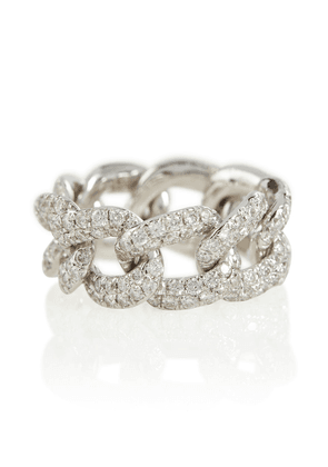 Essential 18kt white gold pavé ring with diamonds