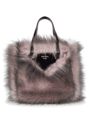Leather-trimmed faux fur tote