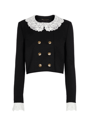 Lace-trimmed cropped virgin wool jacket