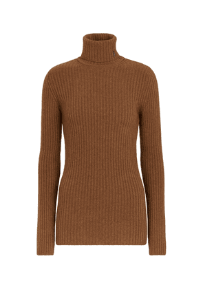 Ribbed-knit wool and cashmere turtleneck sweater
