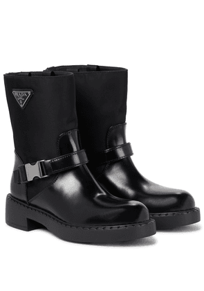 Re-Nylon and leather ankle boots