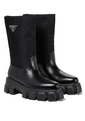 Monolith nylon and leather boots