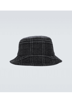 Wool and cashmere checked bucket hat