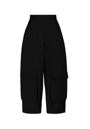 High-rise cropped wool cargo pants