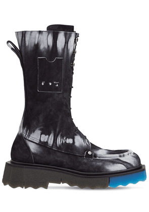 40mm Tie Dye Leather Combat Boots
