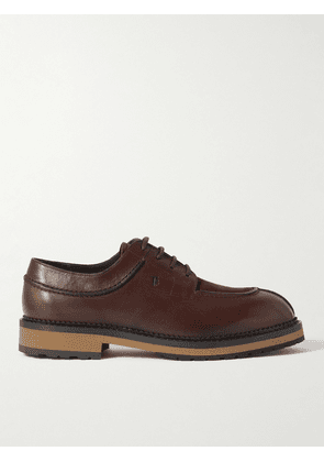 Tod's - Suede-Trimmed Leather Derby Shoes - Men - Brown - UK 6