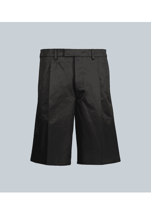 Pleated cotton-twill shorts