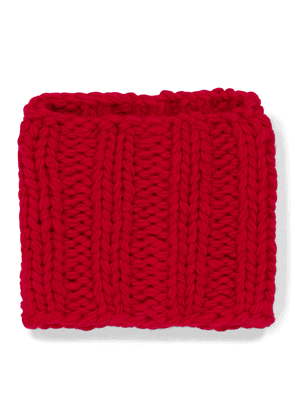 Cable-knit wool collar