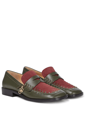 Stitch leather loafers
