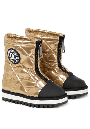 City quilted metallic ankle boots