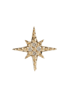 Starbust 14kt yellow gold stud earring with diamonds