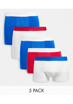 ASOS DESIGN 5 pack trunks with contrast waistbands-Multi