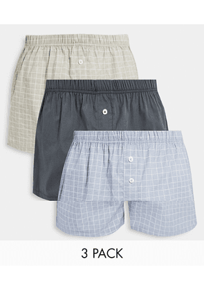 ASOS DESIGN 3 pack of woven boxers with stripe print-Grey