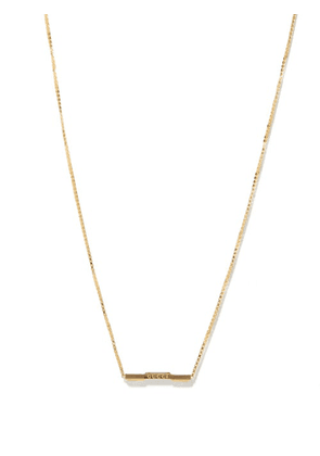 Gucci - Link To Love Bar 18kt Gold Necklace - Womens - Gold