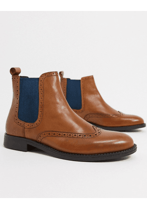 Dune charing cross chelsea boots in tan leather-Brown