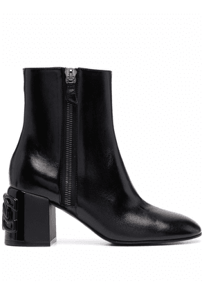 Casadei side-zip leather ankle boots - Black