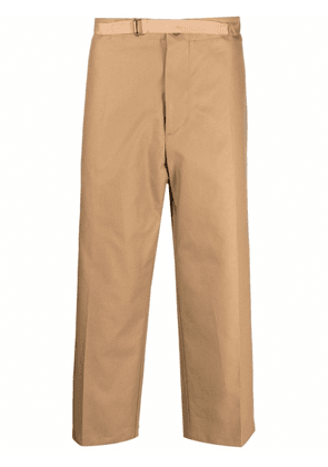Costumein high-waisted cropped cotton trousers - Brown