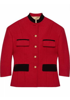 Gucci shoulder-pads fitted jacket - Red