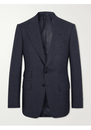 TOM FORD - Shelton Slim-Fit Prince of Wales Checked Wool and Silk-Blend Suit Jacket - Men - Blue - IT 44