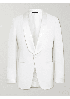 TOM FORD - O'Connor Slim-Fit Satin-Trimmed Wool and Mohair-Blend Tuxedo Jacket - Men - White - IT 48