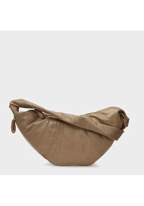 Large Croissant Bag in Grey Leather