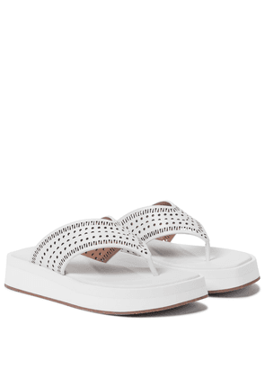 Laser-cut leather thong sandals