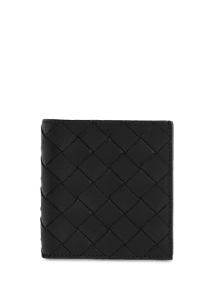 Intrecciato Leather Card Holder Wallet