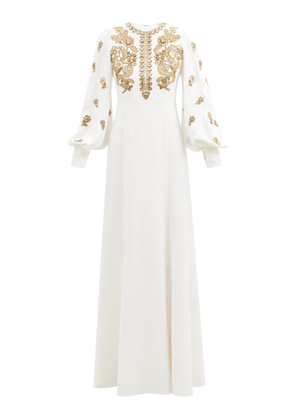 Andrew Gn - Crystal-embellished Zipped Crepe Gown - Womens - White Gold