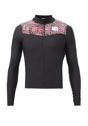 Café Du Cycliste - Clemence Tweed-panel Ribbed Cycling Jersey - Mens - Black