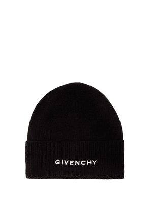 Givenchy - Logo-embroidered Wool Beanie Hat - Womens - Black