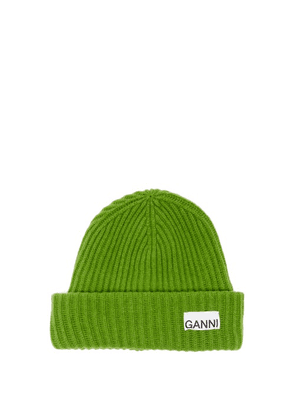 Ganni - Logo-patch Recycled Wool-blend Beanie Hat - Womens - Green