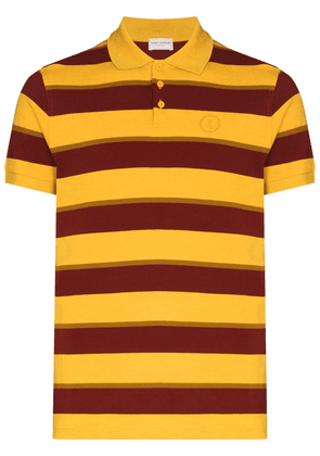 Saint Laurent logo-embroidered striped short-sleeve polo shirt - Yellow