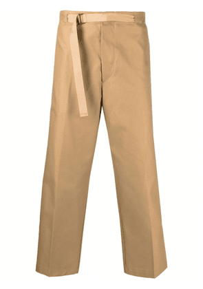 Costumein belted wide-leg cropped trousers - Neutrals